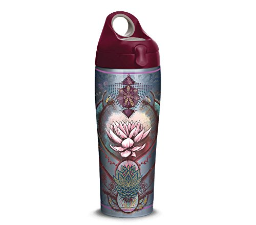 Tervis 1298869 Purple Lotus Flower Stainless Steel Insulated Tumbler with Maroon Lid, 24oz Water Bottle, Silver