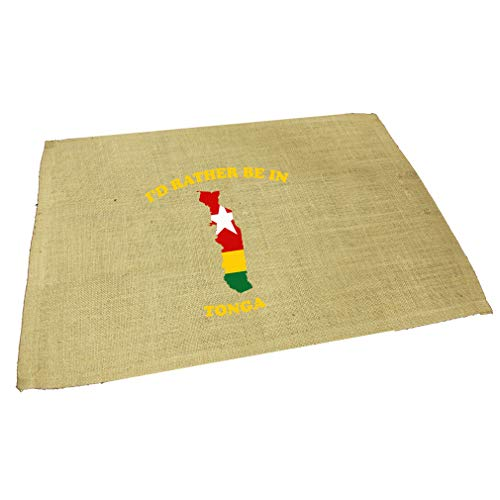 I'D Rather Be In Tonga Jute Burlap Placemat Table Mat Natural One Size