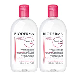 Bioderma Sensibio H2O Soothing Micellar Cleansing Water and Makeup Removing Solution for Sensitive Skin, Face and Eyes, 16.7 oz,pack of 2