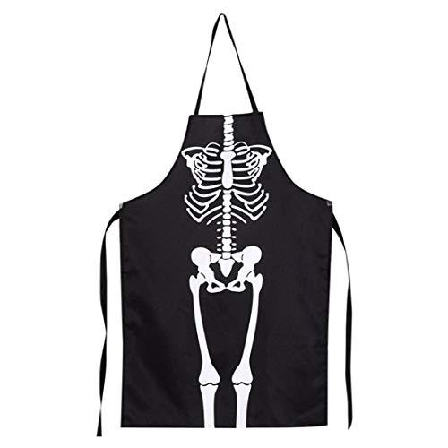 Creazy 1PCS Kitchen Cosplay Horror Chef Halloween Skeleton Apron Costume Party Supplies -