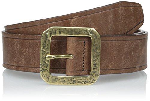 John Varvatos Men's 38mm Edge Heat Creased Leather Belt, Chocolate, 34