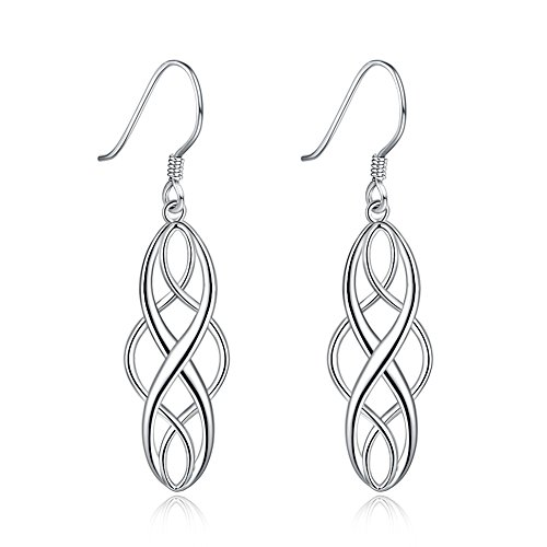 Sterling Silver Celtic Knot Vintage Inifity Drop Dangle Earrings for Women Girls 925 Luckly Dangling Nice Gifts (silver)