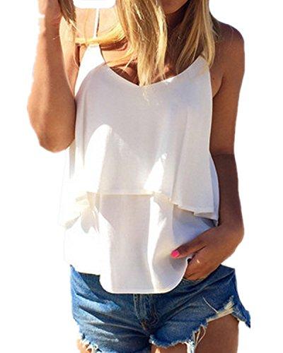 ZANZEA Mujer Camiseta Tirantes sin Mangas Tank Verano Casual Crop Top Chaleco Playa Blanco