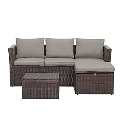 Bon View U0026 Co Patio Furniture 3 PCS Outdoor Sectional Furniture Set P.E Rattan Conversation  Sets With