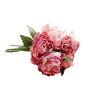Artificial Peony Flowers ,Lavany 1 Bouquet lifelike Artificial Fake Peony Floral For DIY Wedding Decoration Party Home Decor (G) 39