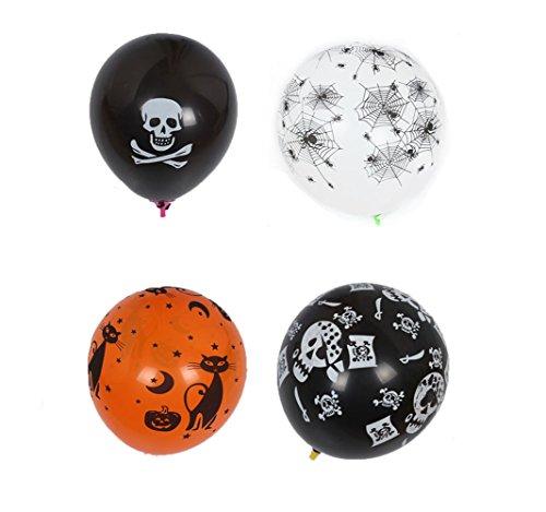Homanda 50pcs Halloween Ballon 5 Pattern Skull Pumpkin Ballons for Holidays Games (Halloween Ballon)