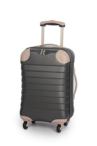IT Luggage Palermo Charcoal Grey Expandable Corner Protector 53.5cm Cabin Hard Shell Spinner Suitcase