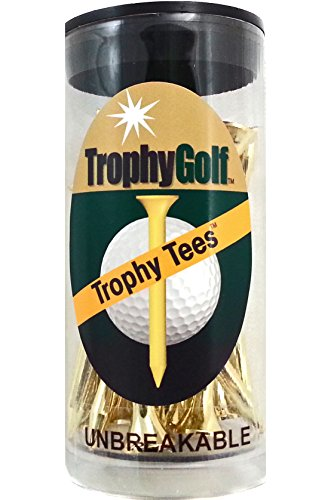 TROPHY GOLF Unbreakable Shiny Tees (18-Pack), Gold by TROPHY GOLF