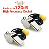 Hipat Whistle, 2 Pack Stainless Steel Sports