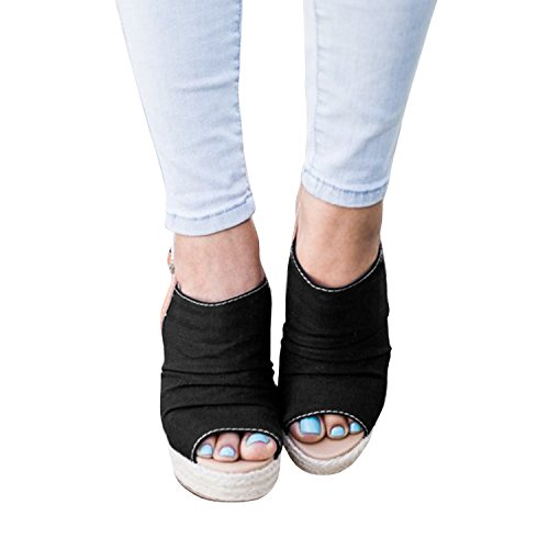 Heel Slingback Suede Toe Womens B Syktkmx Strap Espadrille Wedge black Platform Peep Ankle Sandals zxIzR6vqn