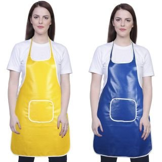 Yazlyn Collection Rexine Waterproof Kitchen Apron, Plastic Type Aprons with Front Pocket-Set of 2 (Yellow Blue)