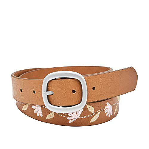 Relic by Fossil Women's Reversible Daisy Leaf Embroidered Belt, Camel, S (Fossil Leaf)
