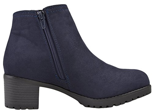Lora Dora Womens Chunky Block Heel Chelsea Boots Blue - Faux Snake Skin wr7HHP8