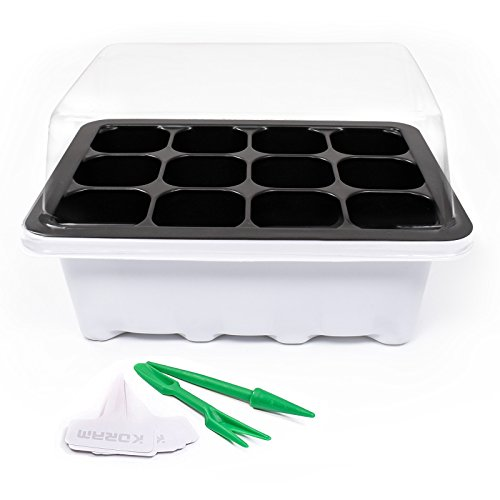 KORAM 10 Set Seed Tray Seedling Starter Trays Plant Grow Starting Germination Kit Greenhouse Grow Trays with Dome and Base 120 Cells, Plant Tags (10 Trays, 12 Cells Each) for Seedling, Flower, Garden by KORAM
