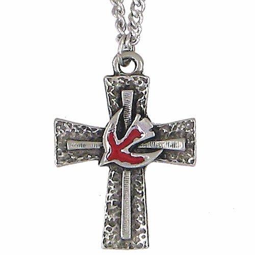 Confirmation Cross Dove Pendant Necklace Red Spirit Dove, Confirm