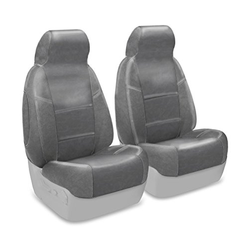 - Coverking Custom Fit Front 50/50 Bucket Seat Cover for Select Isuzu Pickup Models - Genuine Leather (Gray)