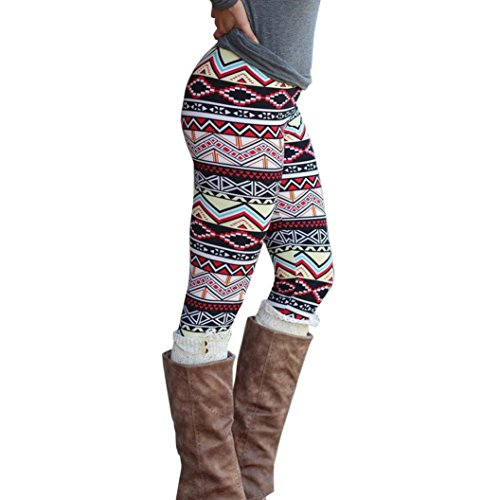 Geometric Print Leggings (Perman Casual Women Skinny Geometric Print Stretchy Jegging Pants Slim Leggings (L, Multicolor A))