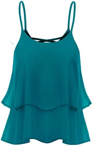 TWINTH Cami Tank Top Blouse Plus Size Shirring Chiffon