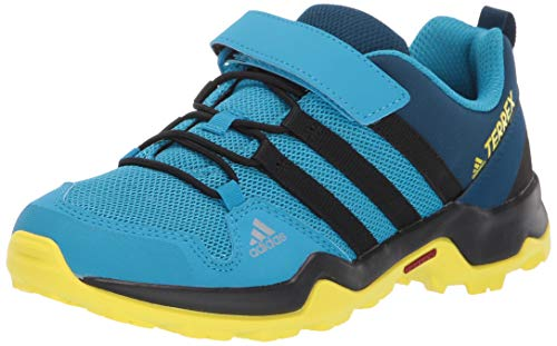 adidas outdoor Terrex AX2R CF Kids Hiking Shoe Boot, Cyan/Black/Shock Yellow, 3 Child US Big - Outdoor Kids Boots