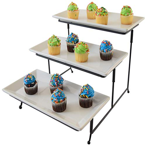 - 3 Tier Serving Tray Cake Stand Three Tiered Dessert Tray Food Server Display Rack White Plates