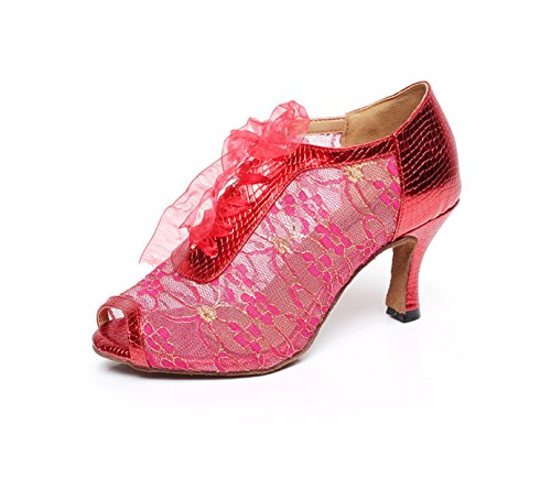 JSHOE Zapatos De Baile Latino Para Mujer Salsa / Tango / Chacha / Samba / Moderno / Jazz Sandalias Tacones Altos,Red-heeled7.5cm-UK7.5/EU42/Our43