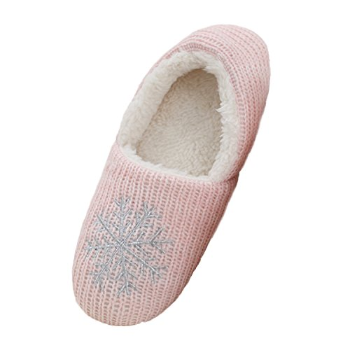 bestfur Womens Warm Cozy knitting Plush Indoor Shoes Slippers Pink