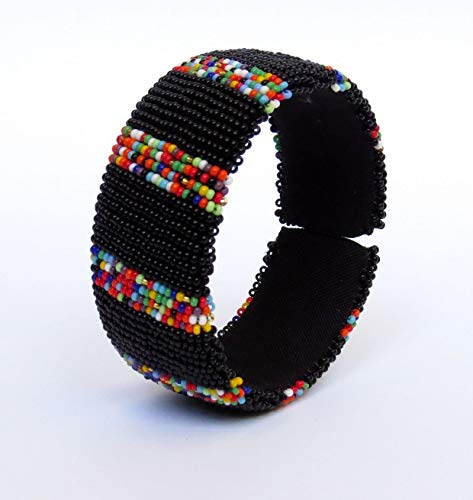 African Zulu beaded Large bangle - Confetti Collection - Black - Gift for her