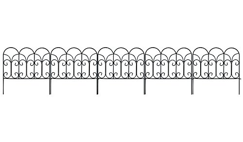 Black Iron Garden (Amagabeli Decorative Garden Fence Coated Metal Outdoor Rustproof 18in x 7.5ft Landscape Wrought Iron Wire Border Fencing Folding Patio Fences Flower Bed Barrier Section Panel Decor Picket Edging Black)