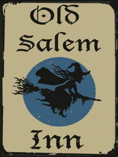 Joeaney Tin Sign New Metal Sign Old Salem Inn, Vintage Halloween Witch on Broomstick for House, Home or Business 7.8 x 11.8 inches]()