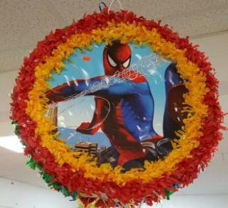 Spider Man Pinata With Pull String - Party Game & Candy Holder - Hand Made To Order by Dollar Daze Plus