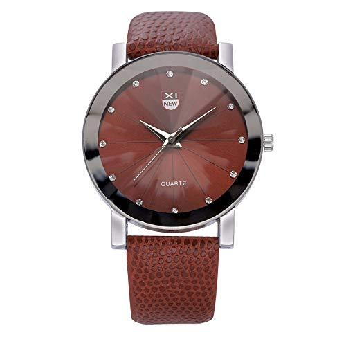 WUAI Men's Classic Watch Leather Strap Stainless Steel Waterproof Analog Quartz Watch Wrist Watch for Men Boys