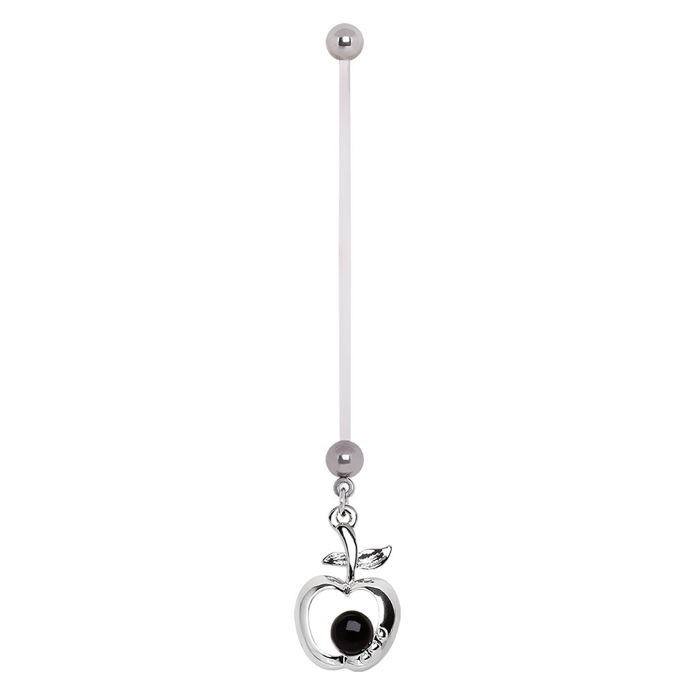 Cocobul Body Jewelry BioFlex Pregnancy Navel Ring with Apple and Pearl Dangle