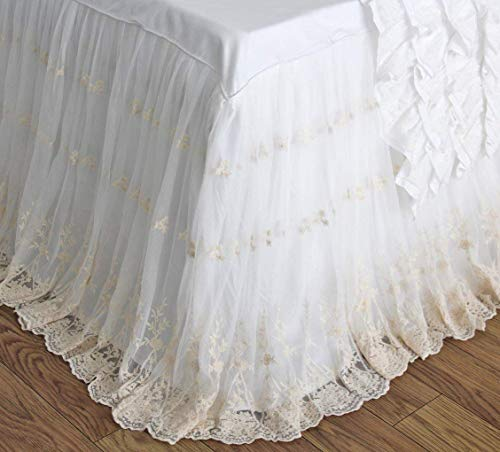 Queen's House Shabby White Ivory Lace Ruffle Embroidery Bridal Bed Skirts Split Corners Coverlet Bedspreads Dust Ruffle-California King,18'' Drop 18' Cal King Bed Ruffle