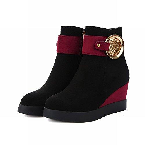 Latasa Damesmode Faux Suède Platform Enkel Sleehakken Laarzen Rood + Zwart