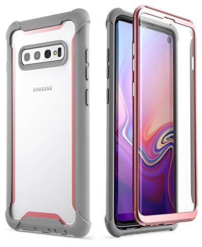 (i-Blason Ares Series Designed for Samsung Galaxy S10 Case Full-Body Rugged Clear Bumper Case with Built-in Screen Protector for Galaxy S10 2019 [NOT Compatible with Fingerprint Sensor] (Pink))