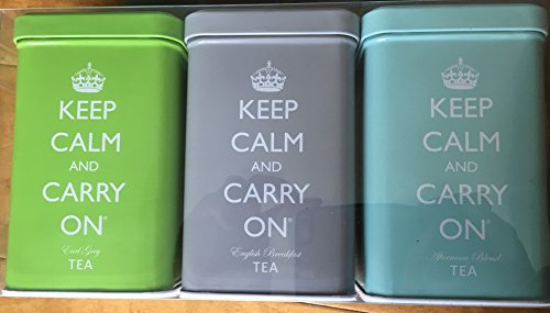 Keep Calm and Carry On Tea Gift Set - (3) Tins of 40 Tea Bags | Earl Grey, English Breakfast & Afternoon Blend Teas w/Collectible - Pumpkin Cheesecake Jar