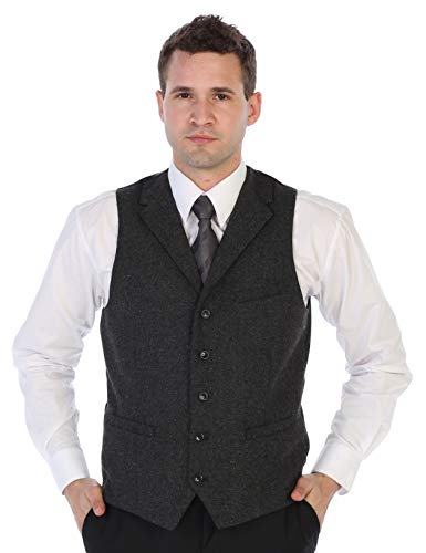 Gioberti Men's 5 Button Tailored Collar Slim Fit Formal Herringbone Tweed Suit Vest, Charcoal Herringbone, Size X-Large ()