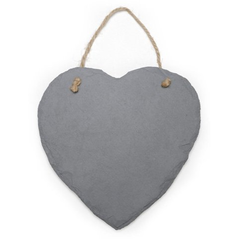 Slate Heart with Jute Hanger - 9 x 9 inches - Slate Heart