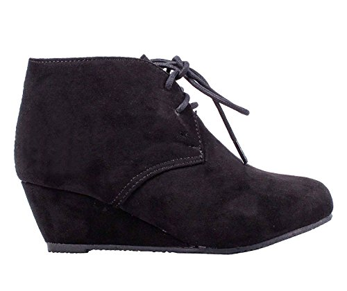 weyoh Faux Suede Lace up Girls Wedges High Heels Kids Ankle Boots (4, Black) - Kid Suede High Heels