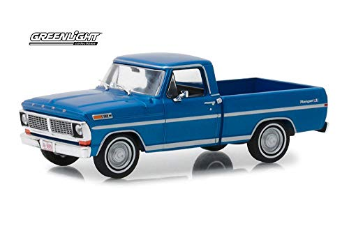 1970 Ford F-100 Ranger XLT Pickup Truck, Acapulco Blue Metallic - Greenlight 86317 - 1/43 Scale Diecast Model Toy Car