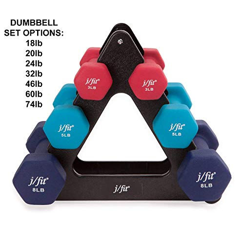 Dumbell Set - j/fit Dumbbell Set w/Durable Rack | Solid Design | Double Neoprene Coated Workout Weights Non-Chip and Flake | Dumbbells Sets For Gyms, Pilates, MMA, Training (32lb Set)