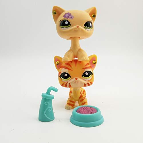 Karinatancat LPS Shorthair Cat Yellow Tiger Flower Kitty Kitten Accessories Lot Animal Toy Boys Girls Gift 2 PCS