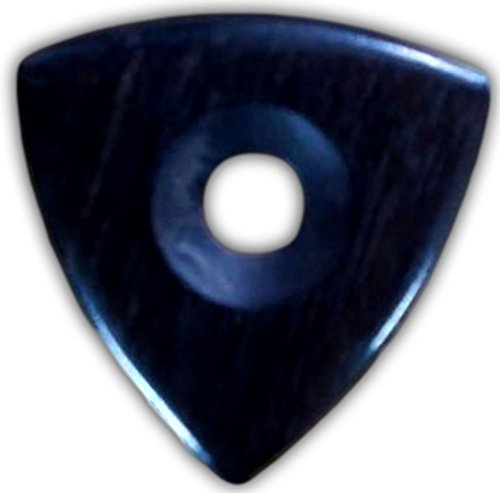 Unique & Custom [Medium Gauge - Tri-Point Style Sharp Tip] Hard Luxury Guitar Pick Made of Genuine Ebony Wood w/ Hole Grip