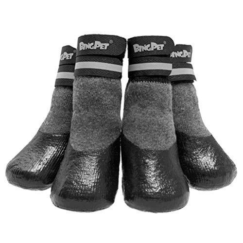 BINGPET Dog Socks for Hardwood Floors, Outdoor Anti Slip Waterproof Paw Protector with Reflective StrapsTraction Control Medium
