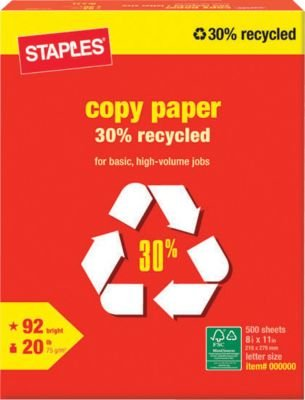 Staples 30% Recycled Copy Paper, 8.5 x 11-Inch, White, 500/Ream(492071)