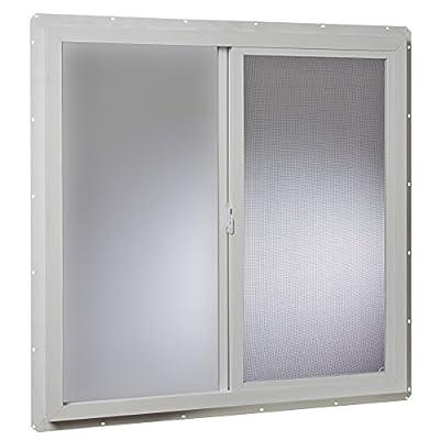 Park Ridge VUS3636PR Vinyl Utility Slider Single Glass Window 36 Inch x 36 Inch, White