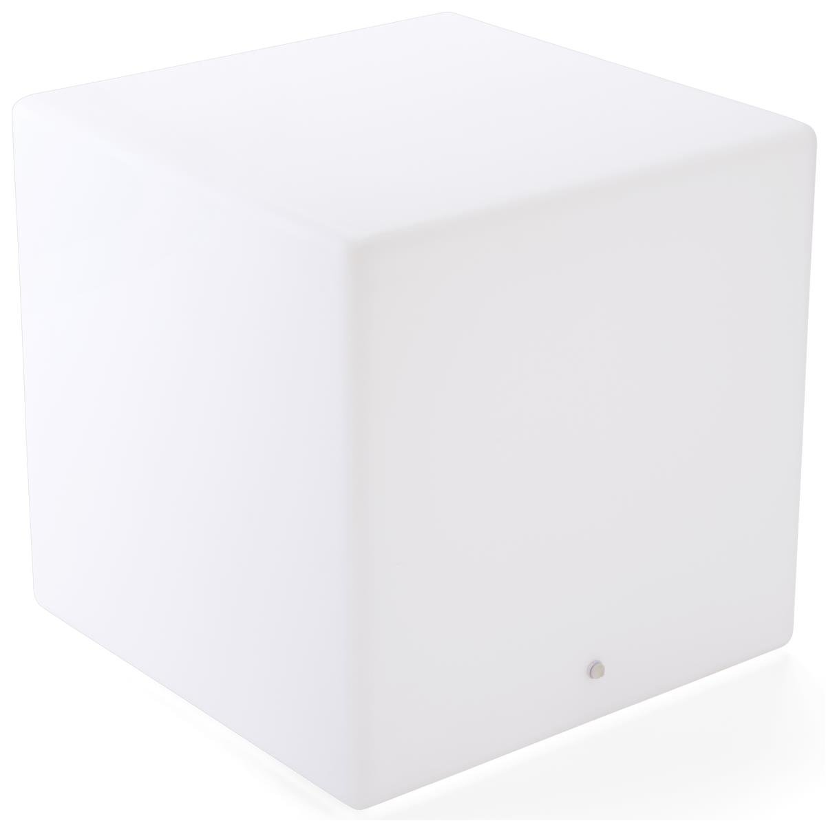 Displays2go LED Cube Table, 16 Color Choices, Rechargeable Battery - White (FDLED23SQ)