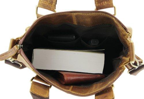 Made Italy - Bolso de asas de cuero para hombre 13-14 Zoll je nach Größe, color, talla 13-14 Zoll je nach Größe marrón claro