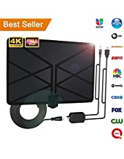 2019 Newest TV Aerial, Indoor Amplified Digital HDTV Aerial 65-100 Mile Range with 4K 1080P HD VHF UHF Freeview TV for Life Local Channels Broadcast for All Types of Home Smart Television (Black)