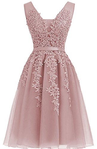 Cdress Applique Gowns Homecoming Dresses Short V Evening Gowns Neck Dusty Prom rose Tulle Cocktail gIwxrq0g